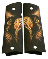 Custom Full Size 1911 Grips Ambidextrous Green Eyed Reapers Hand for Colt etc.
