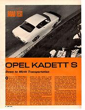 1966 OPEL KADETT S ~ ORIGINAL 4-PAGE ROAD TEST / ARTICLE / AD
