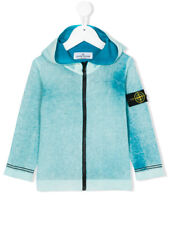 Stone Island Junior Hooded Cardigan Jersey In Teal Blue
