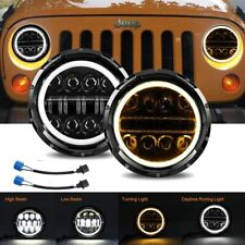 "7"" Inch 75W Round LED Halo Headlights with DRL and Turn Light Blinker for Jeep"