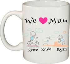 Personalised CERAMIC COFFEE MUG Stick Figure Family Mothers Day, Fathers Day