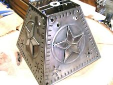 Tin Punch Lamp Shade Glass and Metal Western Star Sm