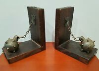 Bookends Ball And Chain Wood Metal Vintage