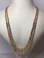 1950s 2 Strand Necklace Faux Pearl Graded Interlocking Clasp Vintage Retro Old
