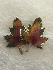 Canadian Maple Tree Leaf Leaves Enamel & Metal Lapel Brooch Pin