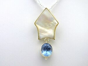 Blue Topaz, Mother of Pearl Pendant Sterling Silver Necklace