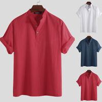 Summer 100%Cotton V Neck Shirt Men's Short Sleeve Beach Loose Fit T Shirt Tops