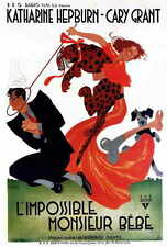 BRINGING UP BABY Movie POSTER French 27x40 Katharine Hepburn Cary Grant