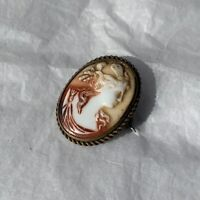 Antique Cameo Brooch 1890s Pressed Glass Oval Portrait Victorian Jewellery Pin