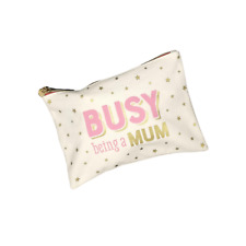 Womens 'Busy Mum' Pouch Zip Cosmetic MakeUp Toiletry Bag Purse Christmas Gift