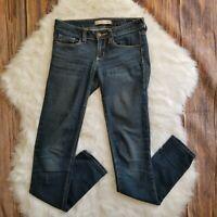 Bullhead Black Women's Jeans Size 1 Skinny Dark Blue Stretch Denim Low Rise