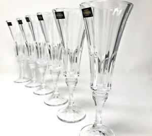 Crystal Glass Set of 6 Champagne Flute Wine Glass 6 oz Bohemia Crystal Modern