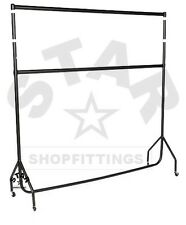 DOUBLE 5Ft Long x 6ft High HEAVY DUTY CLOTHES GARMENT DRESS RAIL RACK STAND NEW