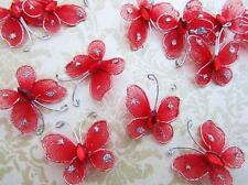 24 Glitter Wire Mesh Butterfly Decoration/wedding/corsag e/flower L8-Small-Red