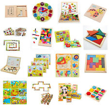Wooden Tangram Brain Teaser Puzzle Tetris Game Children Play Wood Toy 16Style Y+