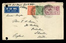 INDIA KG5 1933 STATIONERY 8A AIRMAIL + 2 1/2A KIRKEE to SHREWTON GB..PUNCH HOLES