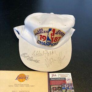 Magic Johnson Kareem Abdul Jabbar Signed 1987 Los Angeles Lakers Champs Cap JSA