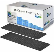 15x Non-Slip Carpet Stair Treads 8x30 Grey Pre-Applied Adhesive Slip Resistance