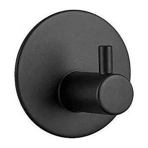 Black Towel Holder 1 Hooks, Round Self-adhesive-3M,No Drilling, Stainless Steel