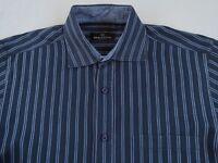 Bugatchi Uomo Men's 100% Cotton L/S Button Down Navy Striped Dress Shirt - Large