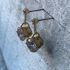 18K Gold Plated Swarovski Stone Clover Leaf Engraving Dangle Drop Earring