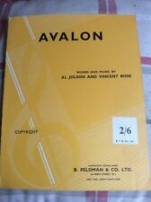 More details for sheet music avalon by al jolson and vincent rose