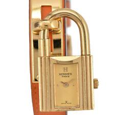 Auth HERMES KELLY WATCH GP/Leather Gold Dial Quartz Women's Watch P#93619