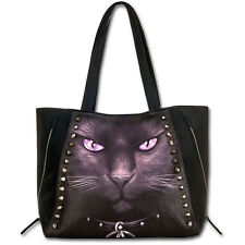 SPIRAL DIRECT GOTHIC BLACK CAT FAUX LEATHER STUDDED TOTE HANDBAG - BRAND NEW.