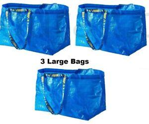 New 3 IKEA Frakta Large Shopping Bag Reusable Laundry Tote Storage Grocery