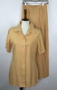 Trelori Studio Womens 2pc Set Button Up Blouse Tunic Pants Linen Yellow Size L