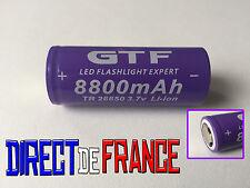1 PILE ACCU RECHARGEABLE BATTERIE GTF 26650 8800mAh 3.7V Li-ion BATTERY PUISSANT