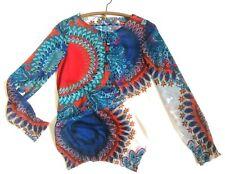 DESIGUAL RAINBOW Vivid Bright Imprimer Mousseline Boho Chemisier Femme Taille 8/10