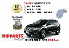 FOR NISSAN MURANO 2.5DT DCi 2010--> NEW SERVICE OIL AIR DIESEL FUEL FILTER KIT