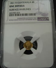 Guatemala 1861 R Gold 4 Reales (Cuatro) NGC UNC Details