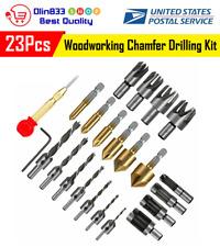 23Pcs Woodworking Chamfer Hss Countersink Wood Plug Cutter Drill Bit Set