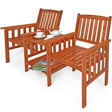 Banc de jardin 2 places bois d'acacia avec table support et accoudoirs jardin
