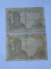 2 Pcs x 5 Piastres French Indochina 1939 (See Photos)