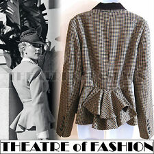 VINTAGE TWEED JACKET BUSTLE RIDING COAT 10 38 6 8 40s WAR BRIDE VICTORIAN 50s
