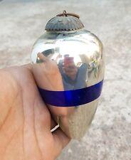"""VINTAGE OVAL SHAPE 4.25"""" SILVER & COBALT BLUE GLASS CHRISTMAS KUGEL / ORNAMENT"""