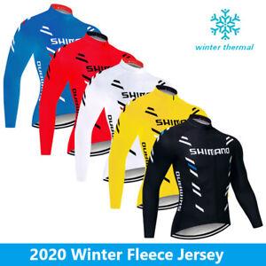 Fleece Men's Cycling Thermal Jersey Bike Riding Winter Jacket Full Zipper Tops