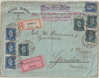 GERMANY REICH 1924 MULTI FRANCHISING EXPRESS REGISTERED COVER FROM DRESDEN