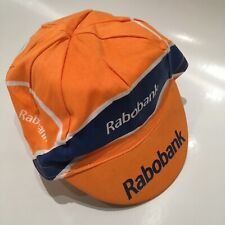 RABOBANK CYCLING CAP HAT TEAM VINTAGE BIKE ORANGE BLUE RETRO RACE