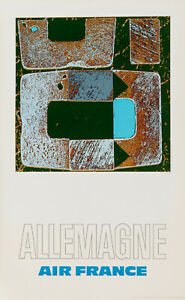 Original Vintage Poster - Raymond Pages - Air France - Allemagne - Plane - 1971