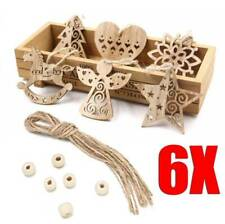 6pc/Set Christmas Wood Chip Tree Ornaments Xmas Party Hanging Pendant Home Decor