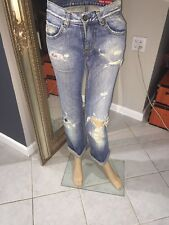 Miss Sixty Women's Boyfriend  Distressed Straight Jeans 26 X 30