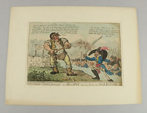 """Isaac Cruikshank Colored Etching Political Satire """"Scare Crows..."""" 1803 13"""" x 9"""""""