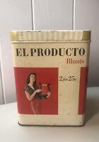 """vintage El Producto Cigar Tin Blunt """"2 for 25 cents"""""""