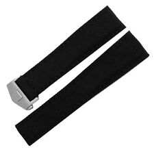 New 22mm Black Canvas Leather Watch Strap Band Stainless Steel Deployment Clasp