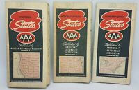 Lot of 3 1939 AAA Official Lithograph Road Maps: North Central, West & Northeast