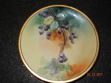 ANTIQUE HAND PAINTED BLUEBERRY FRUIT JPL LIMOGES FRANCE PORCELAIN PLATE